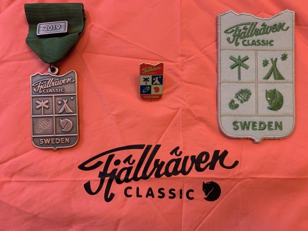 Fjällräven classics medalj, strykmärke och brosch vid målgången